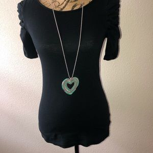 Anthropologie Heart Long Necklace.